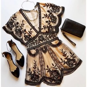 Nude Black Lace Embroidered Romper